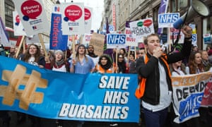 Thousands of student nurses march to Downing Street in protest against bursary cuts in London, January 2016.