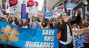 Student nurses protesting against bursary cuts.