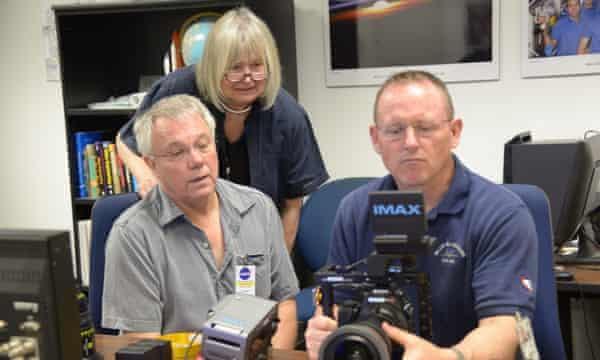 Director of photography/astronaut training manager, James Neihouse, writer/director Toni Myers and Commander Barry (Butch) Wilmore during an Imax camera training session at Nasa's Johnson Space Center, Houston, Texas.