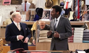 Jason Watkins as Mr Humphries with Kayode Ewumi as Mr Conway in Are You Being Served?.