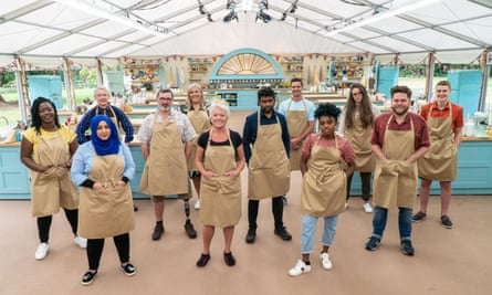 The Great British Bake Off contestants 2020: (left to right) Hermine, Sura, Rowan, Marc, Laura, Linda, Mak, Dave, Loriea, Lottie, Mark and Peter.