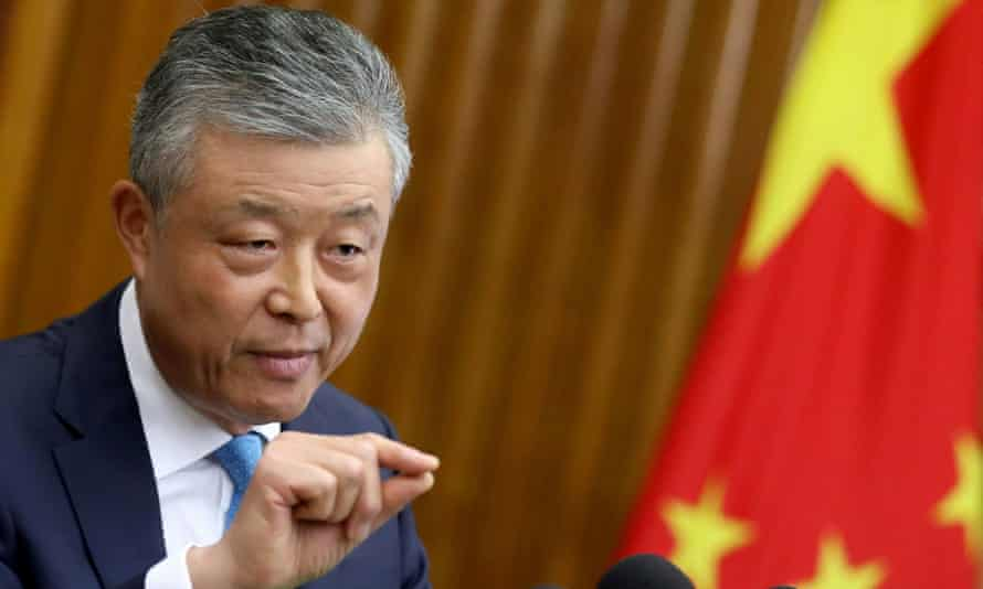 Liu Xiaoming gestures during a news conference in London in August 2019.