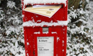 A snow-covered postbox