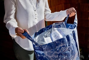 Pearl Pai holds a bag of recyclables at her home in Berkeley, CA., on Friday, June 7, 2019. Pai, who for years has been sorting her recyclables and garbage, holds a bag of sorted recyclables similar to that of what she used to bring to her local recycling center. She was recently informed that they will no longer accept most of the items that she is used to bringing.