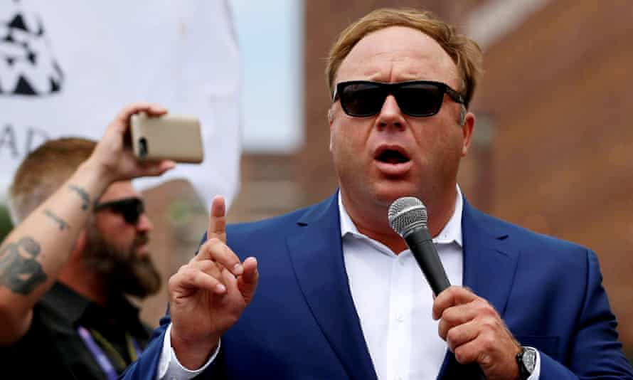 Alex Jones claims he's being silenced by the 'tech left' after Facebook and Youtube took down his pages, and Apple and Spotify banned his podcasts.