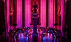 Jenny Holzer's LED installation around the Duke of Marlborough's bust at Blenheim Palace.