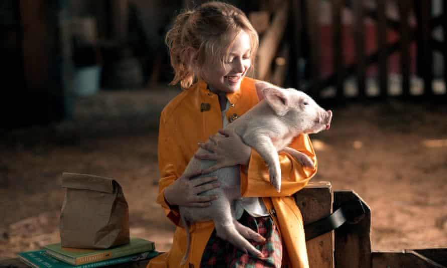 Dakota Fanning and Wilbur in the film adaptation of Charlotte's Web.