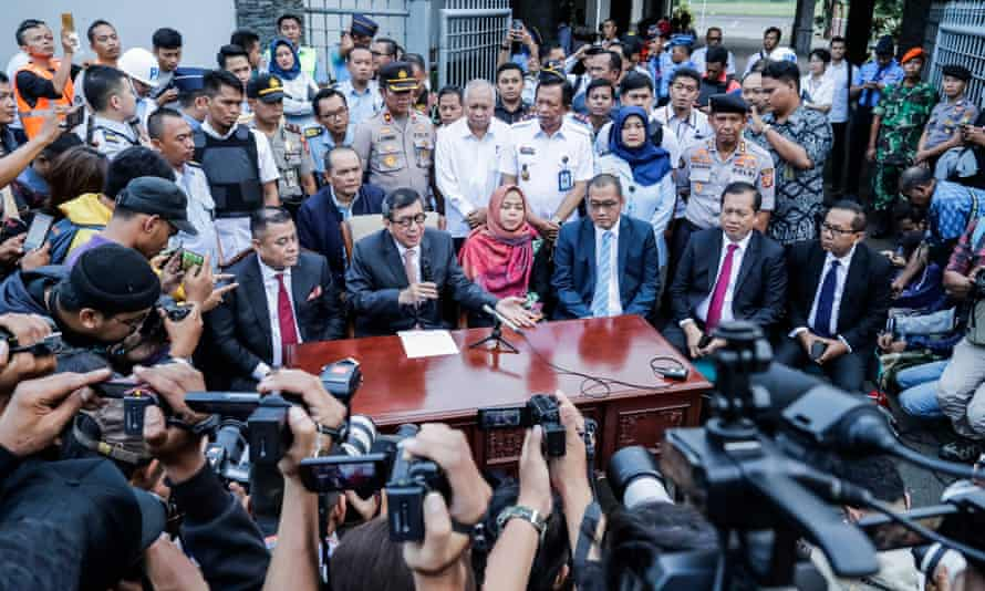 Siti Aisyah attends a press conference at Halim Perdana Kusuma airport in Jakarta on Monday.