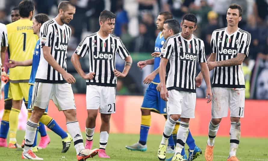 Dejection for Juventus players after their home defeat to Udinese.