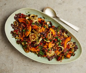 Yotam Ottolenghi's black rice with fennel and butternut squash.
