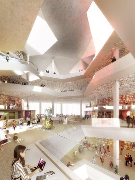 How the wood-lined Future Library will look.