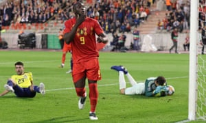 Romelu Lukaku of Belgium celebrates after scoring their second goal.