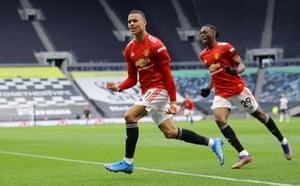Mason Greenwood of Manchester United celebrates after scoring.