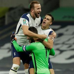 Tottenham Hotspur's Harry Kane, Sergio Reguilon and Hugo Lloris celebrate their victory.
