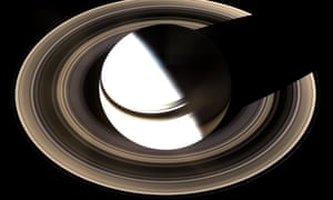 Incomplete picture ... the Cassini spacecraft's impression of Saturn in 2014, leaving part of the planet in shadow.
