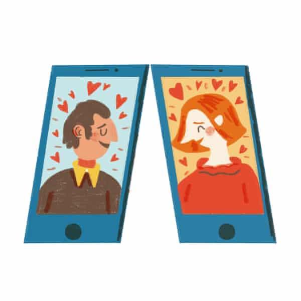 illustration of people talking via video chat