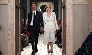 Maria Grazia Chiuri and Pierpaolo Piccioli walk the runway during the Valentino haute couture in July.