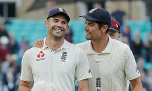 Jimmy Anderson and Alastair Cook leave the field together after the victory over India.