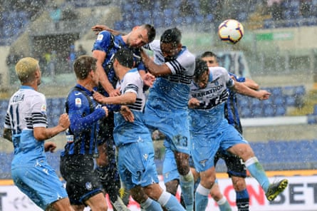 Wallace (top right0 scores an own goal under pressure from Atalanta's Berat Djimsiti.