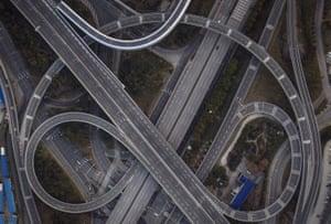 A freeway interchange