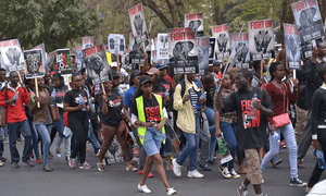 Participants on the Global March for Elephants and Rhinos in Nairobi on October 7, 2016.