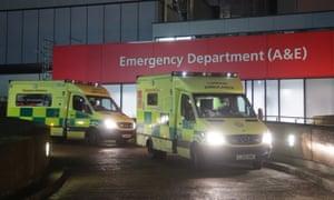 Ambulances waiting outside St Thomas' hospital, London