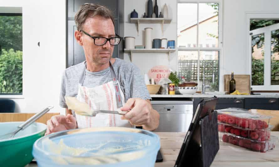 Tim Dowling making creme patissiere.