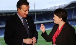 David Cameron with Ruth Davidson, leader of the Scottish Conservatives, at Murrayfield stadium in Edinburgh