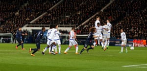 Zlatan Ibrahimovic's shot takes a deflection off Mikel to beat Courtois.