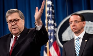 Rod Rosenstein, the deputy attorney general, listens as William Barr the attorney general, speaks during a press conference at the Department of Justice in Washington DC on 18 April.
