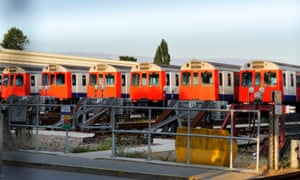 District Line tube trains lay idle at the Upminster depot.
