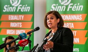 Sinn Fein president Mary Lou McDonald speaking at the Metropolitan Arts Centre in Belfast today.