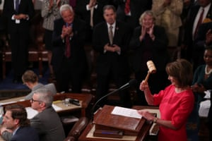House Speaker-designate Nancy Pelosi holds the gavel after being elected to the speakership as the U.S. House of Representatives.