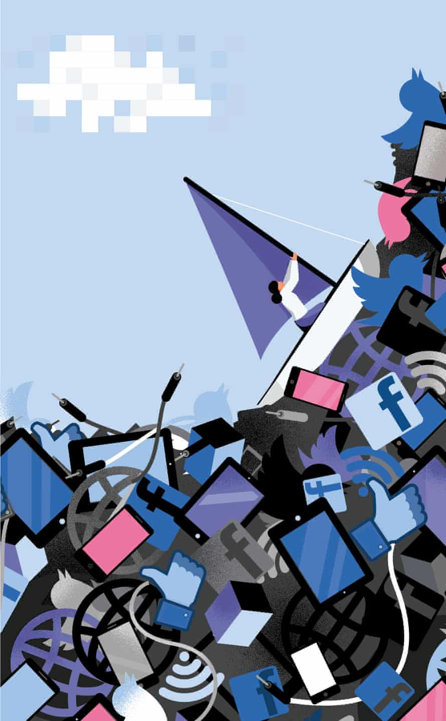An illustration of a woman in a sailing boat riding a steep wave of digital symbols