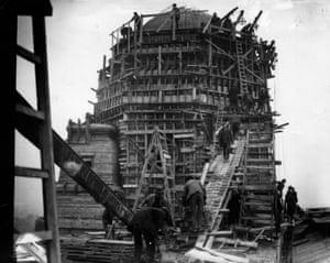 The construction of the original Wembley stadium, north London, 1923