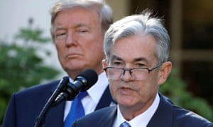 President Donald Trump looks on as Jerome Powell speaks at the White House in November 2017.