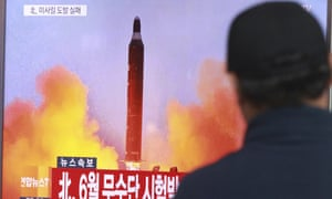 South Korean TV broadcasts a recording of a missile launch in the North.