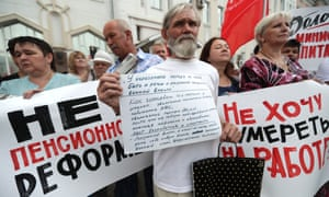 People in Ivanovo protest against a draft law proposed by the Russian government to raise the retirement age
