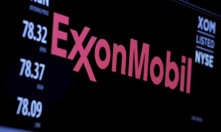 The logo of Exxon Mobil Corporation is shown on a monitor above the floor of the New York Stock Exchange in New York, December 30, 2015.