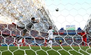 Dries Mertens of Belgium scores his team's first goal.