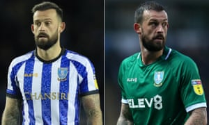 Sheffield Wednesday's Steven Fletcher sporting the club's home and away shirts with the sponsors Chansiri and Elev8.