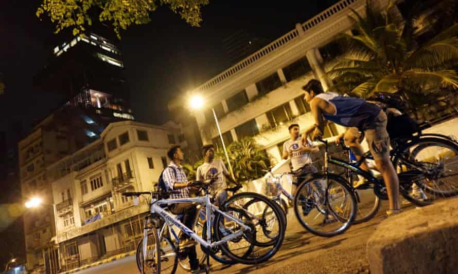 Mumbai's quiet night-time streets and the exclusive Antilia building