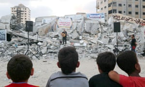 Concert in the rubble of Said al-Mishal cultural centre in Gaza City last August.