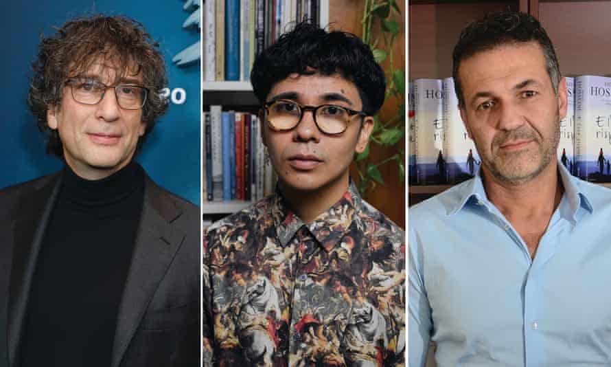 (from left) Neil Gaiman Ocean Vuong and Khaled Hosseini.