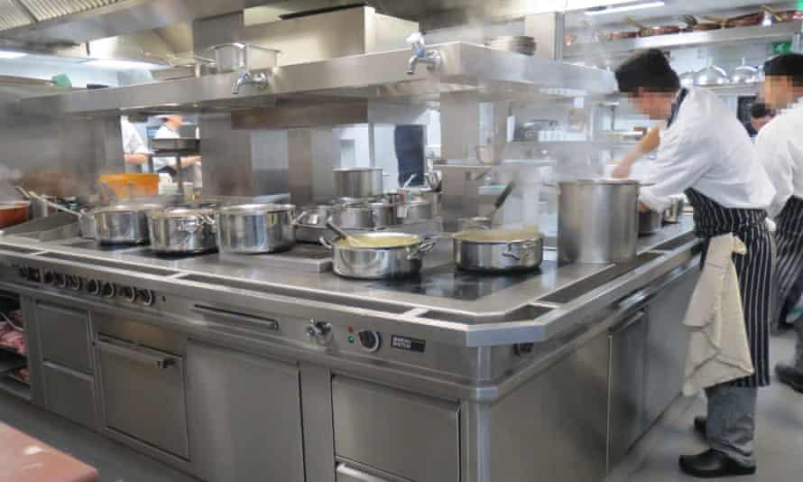 Chefs at work in Le Gavroche's kitchen.