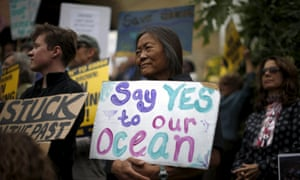 Protesters call for a ban on fracking and a phasing out of oil development in California, in Santa Barbara on Thursday.