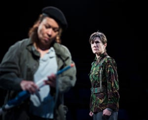 Martina Laird (Cassius) and Harriet Walter (Brutus) in Julius Caesar at the Donmar's King's Cross theatre.