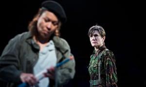 Martina Laird (Cassius) and Harriet Walter (Brutus) in Julius Caesar.
