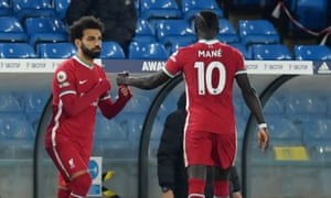 Mohamed Salah comes on as a substitute to replace Sadio Mane.