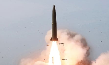 The launch of a missile in the east coast of North Korea.